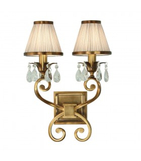 2 Light Indoor Twin Candle Wall Light Antique Brass with Beige Shades