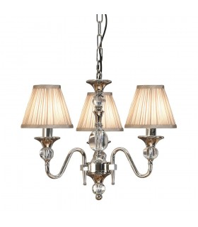 Polina Nickel Three Light Ceiling Pendant With Beige Shades - Interiors 1900 63579