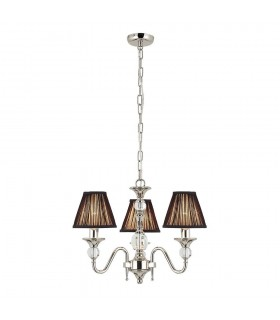 Polina Nickel Three Light Ceiling Pendant With Black Shades - Interiors 1900 63583