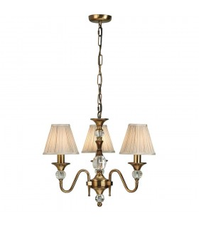 Polina Antique Brass Three Light Ceiling Pendant With Beige Shades - Interiors 1900 63586