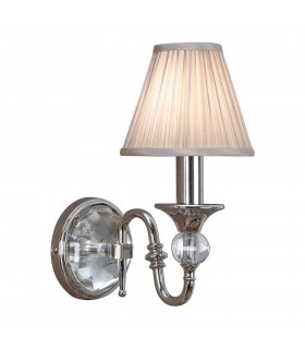 1 Light Indoor Candle Wall Light Polished Nickel Plate with Beige Shade, E14