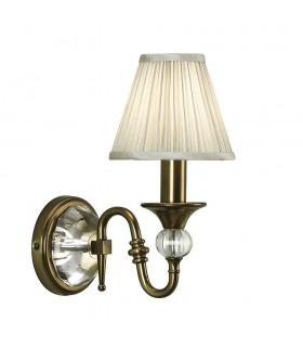 1 Light Indoor Candle Wall Light Antique Brass with Beige Shade, E14