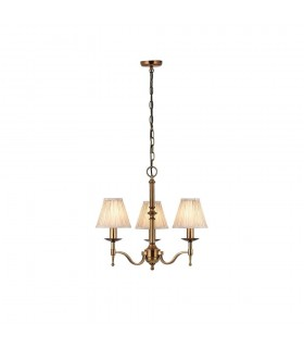 Antique Brass Three Light Ceiling Pendant With Beige Shades