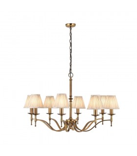 Antique Brass Eight Light Ceiling Pendant With Beige Shades