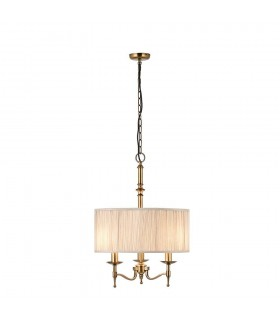 Antique Brass Three Light Ceiling Pendant With Single Beige Shade