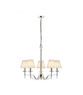 Stanford Nickel Five Light Ceiling Pendant With Beige Shades - Interiors 1900 63631