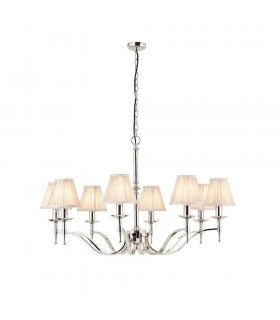 Stanford Nickel Eight Light Ceiling Pendant With Beige Shades - Interiors 1900 63635