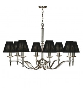 Stanford Nickel Eight Light Ceiling Pendant With Black Shades - Interiors 1900 63642