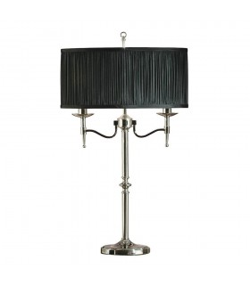 2 Light Table Lamp Polished Nickel Plate with Black Shade, E14