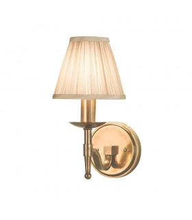 Antique Brass Single Wall Light With Beige Shade