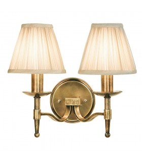 2 Light Indoor Twin Candle Wall Light Antique Brass with Beige Shades, E14