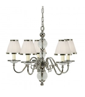 Tilburg Nickel Five Light Ceiling Pendant With White Shades - Interiors 1900 63714