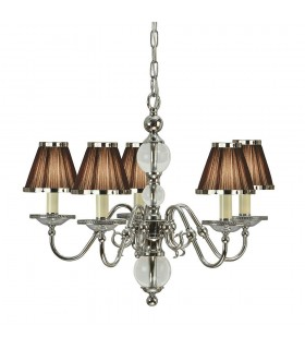 Tilburg Nickel Five Light Ceiling Pendant With Chocolate Shades - Interiors 1900 63716