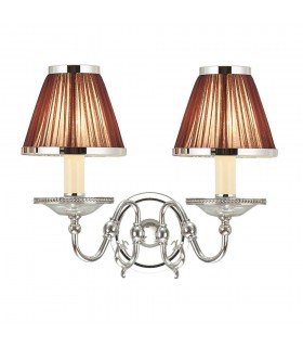 2 Light Indoor Twin Candle Wall Light Polished Nickel Plate with Crystal, E14