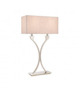 2 Light Table Lamp Polished Nickel Plate with Beige Shade, E27