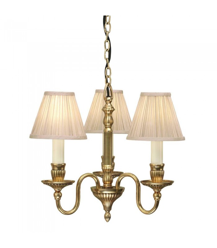3 Light Ceiling Pendant With Beige Shades