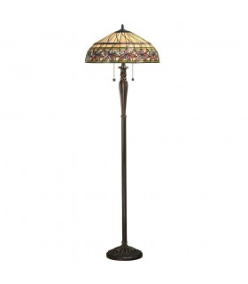 2 Light Floor Lamp Tiffany Glass, Dark Bronze Paint with Highlights