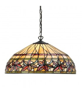 3 Light Large Ceiling Pendant Dark Bronze, Tiffany glass