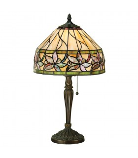 1 Light Small Table Lamp Tiffany Glass, Dark Bronze Paint with Highlights, E27