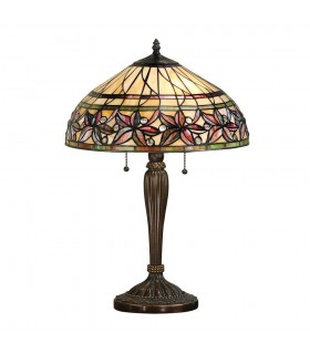 2 Light Medium Table Lamp Tiffany Glass, Dark Bronze Paint with Highlights, E27