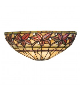 1 Light Indoor Wall Light Dark Bronze with Tiffany Glass