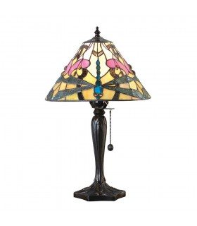 1 Light Small Table Lamp Tiffany Glass, Dark Bronze Paint with Highlights