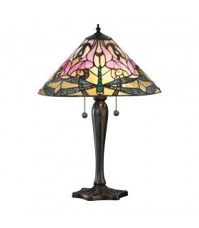 2 Light Medium Table Lamp Tiffany Glass, Dark Bronze Paint with Highlights