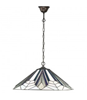 1 Light Large Ceiling Pendant Dark Bronze, Tiffany Style Glass