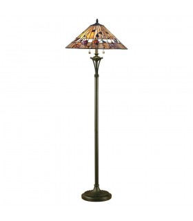 2 Light Floor Lamp Dark Bronze, Tiffany Glass, E27