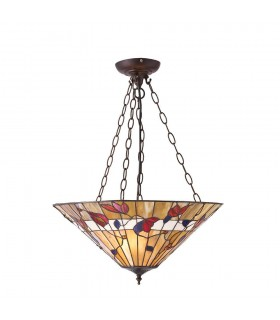 3 Light Large Inverted Ceiling Pendant Dark Bronze, Tiffany glass