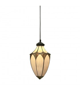 1 Light Small Ceiling Pendant Dark Bronze, Tiffany glass, E14