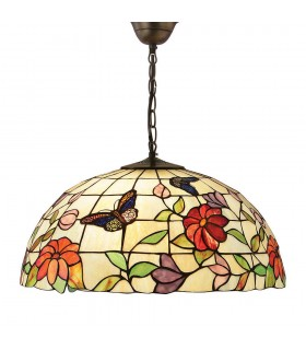 3 Light Large Ceiling Pendant Bronze, Tiffany Style Glass