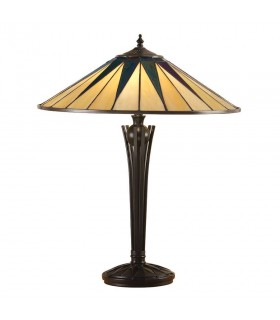 2 Light Large Table Lamp Black, Tiffany Style Glass