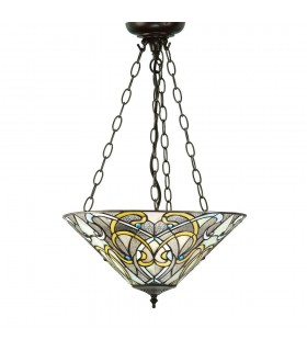3 Light Inverted Ceiling Pendant Dark Bronze, Tiffany glass