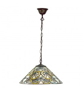 1 Light Ceiling Pendant Dark Bronze, Tiffany glass
