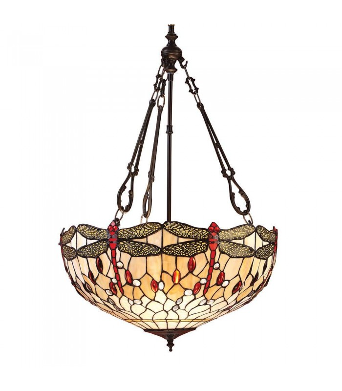 Dragonfly Large Tiffany Style Beige Inverted Three Light