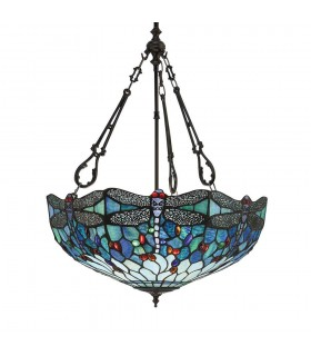 3 Light Large Inverted Ceiling Pendant Bronze, Dragonfly Tiffany Glass