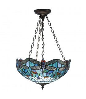 3 Light Medium Inverted Ceiling Pendant Bronze, Blue, Dragonfly Tiffany Glass