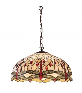 3 Light Large Ceiling Pendant Bronze, Beige, Dragonfly Tiffany Glass