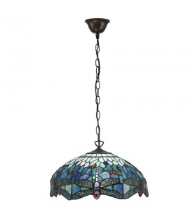 3 Light Medium Ceiling Pendant Bronze, Blue, Dragonfly Tiffany Glass