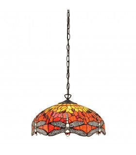 3 Light Medium Ceiling Pendant Bronze, Red, Dragonfly Tiffany Glass