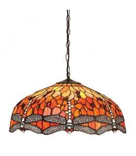 3 Light Large Ceiling Pendant Bronze, Red, Dragonfly Tiffany Glass