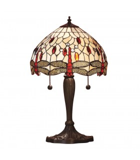 2 Light Small Table Lamp Dark Bronze, Beige, Tiffany Style Glass