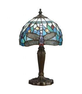 1 Light Table Lamp Dark Bronze, Blue, Tiffany Style Glass