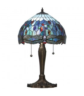 2 Light Small Table Lamp Dark Bronze, Blue, Tiffany Style Glass