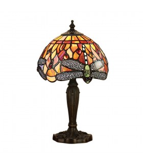 1 Light Table Lamp Dark Bronze, Red, Tiffany Style Glass