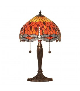 2 Light Small Table Lamp Dark Bronze, Red, Tiffany Style Glass