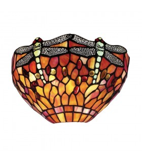 1 Light Indoor Dragonfly Tiffany Wall Light Dark Bronze, Red