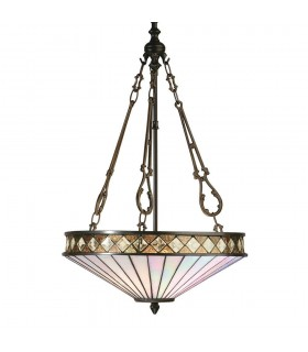 Fargo Medium Tiffany Style Inverted Three Light Ceiling Pendant - Interiors 1900 64146