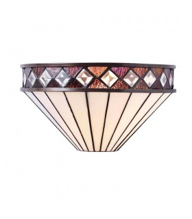 1 Light Indoor Wall Uplighter Dark Bronze with Tiffany Glass, E27